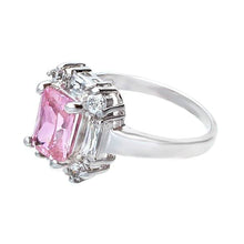 Load image into Gallery viewer, Beautiful Polished Silvertone Fashion Ring in Emerald Cut Pink Cubic Zirconia