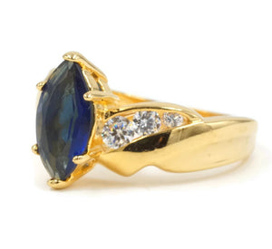 Marquis Solitaire Twist Goldtone Fashion Ring with Sapphire Cubic Zirconia