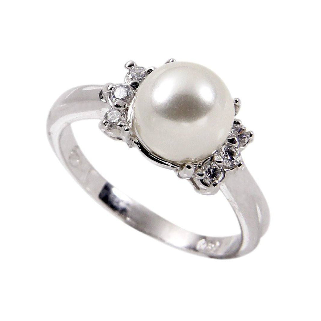 Pearl Ring in Sterling Silver With Cubic Zirconia Side Stones