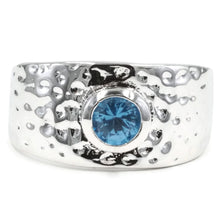 Load image into Gallery viewer, Hammered Fashion Ring with Bezel Set Genuine Blue Zircon