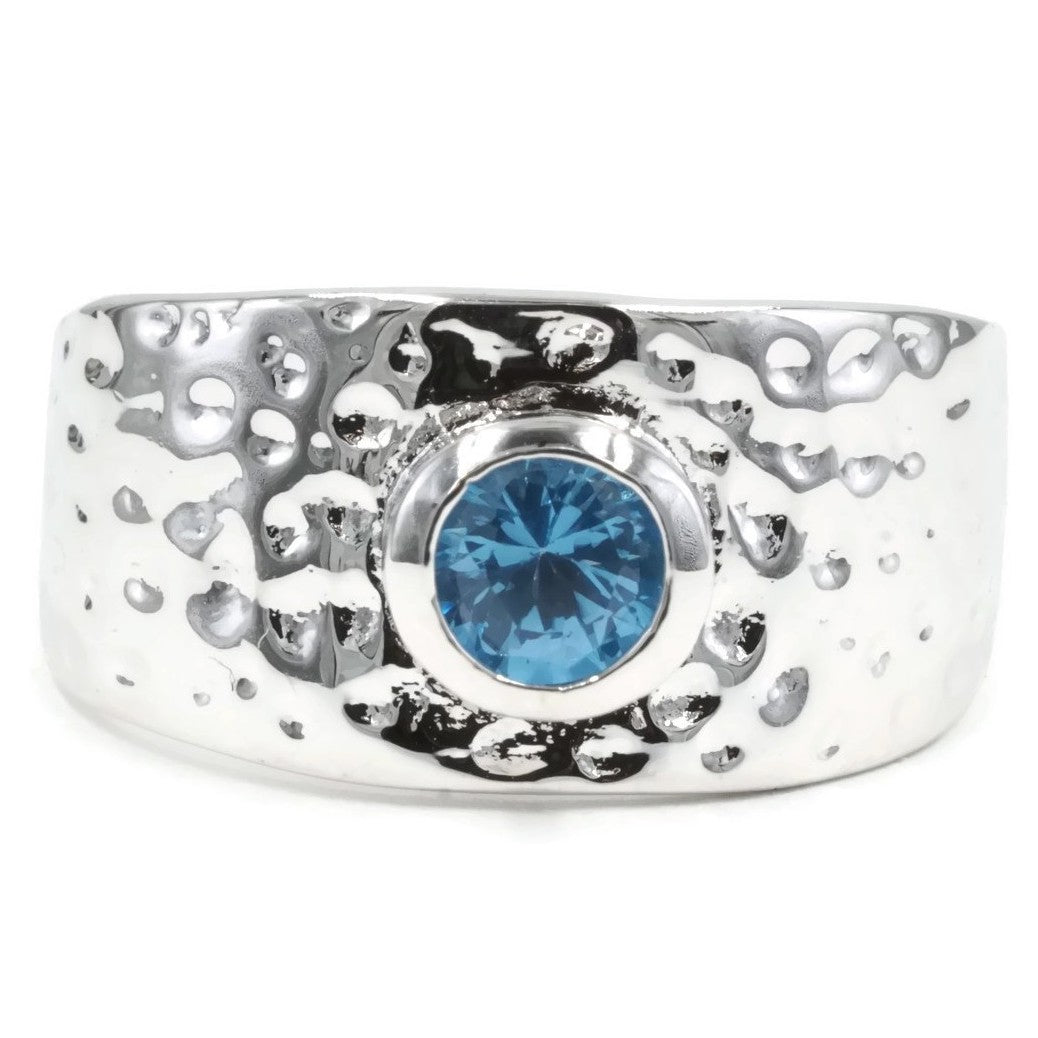 Hammered Fashion Ring with Bezel Set Genuine Blue Zircon
