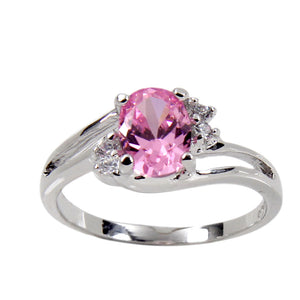 Offset Twist Sterling Silver Ring With Oval Pink Cubic Zirconia Center Stone