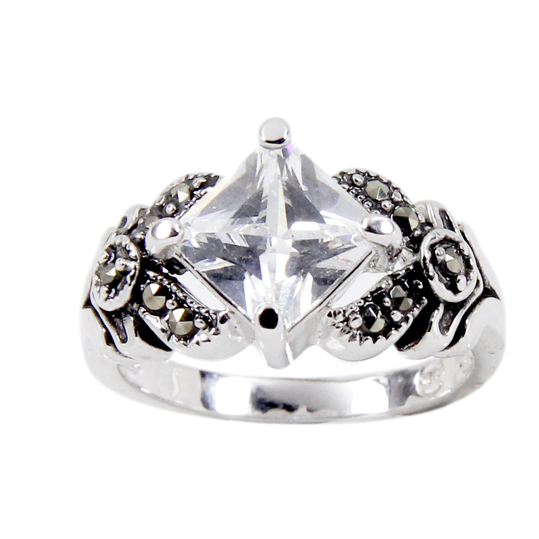 Sterling Silver Special Square Cut Cubic Zirconia Ring With Genuine Marcasite
