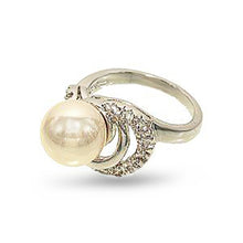 Load image into Gallery viewer, 10mm Lustrous Pearl and Cubic Zirconia Silvertone Cocktail Ring