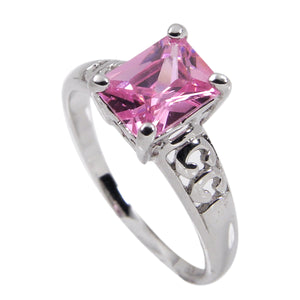 Sterling Silver High Mounted Solitaire Pink Emerald Cubic Zirconia Ring in Rhodium Plate Finish