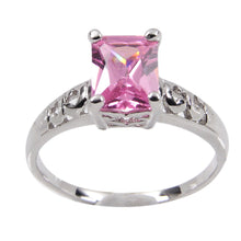 Load image into Gallery viewer, Sterling Silver High Mounted Solitaire Pink Emerald Cubic Zirconia Ring in Rhodium Plate Finish