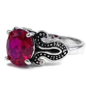 Hand Set Oval Synthetic Ruby Silver Fashion Ring with Black Loop Sides