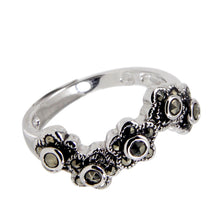 Load image into Gallery viewer, Wavy Flower Band Ring With Genuine Marcasite Stones in Sterling Silver and Rhodium Plate Finish