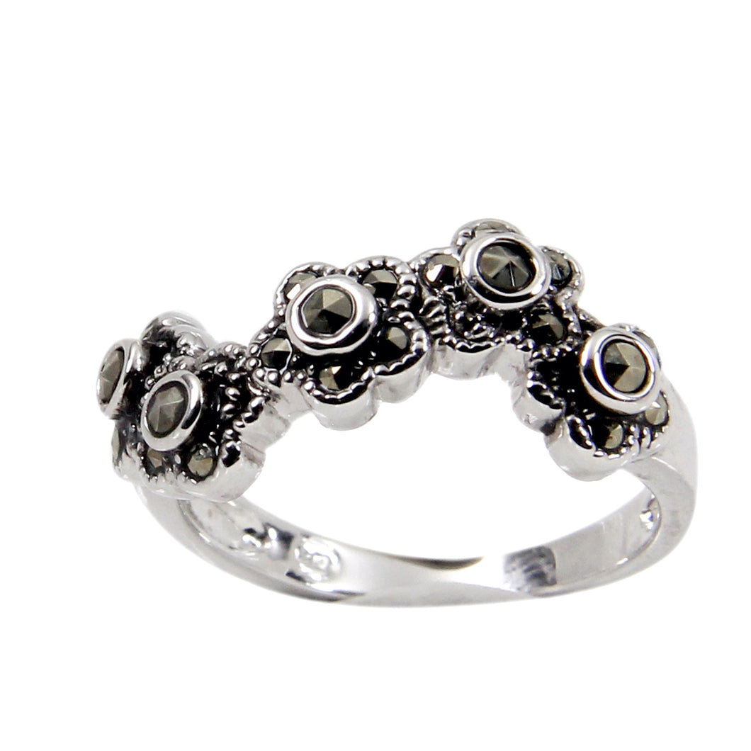 Wavy Flower Band Ring With Genuine Marcasite Stones in Sterling Silver and Rhodium Plate Finish