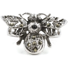 Load image into Gallery viewer, Exotic Bumble Bee Ring in Sterling Silver With Genuine Marcasite Stones And Rhodium Plate Finish