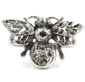 Exotic Bumble Bee Ring in Sterling Silver With Genuine Marcasite Stones And Rhodium Plate Finish