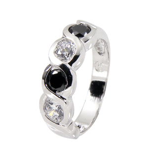 Sterling Silver Ring In Black and Clear Cubic Zirconia