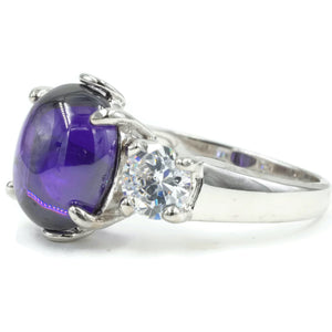 Three Stone Fashion Ring in Oval Amethyst Cubic Zirconia