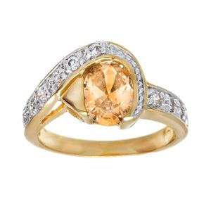 Two Tone Fashion Ring in Oval Shape Champagne & Cubic Zirconia