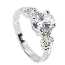 Load image into Gallery viewer, Vintage Style Sterling Silver Ring With Oval Clear CZ Center Stone