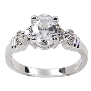 Vintage Style Sterling Silver Ring With Oval Clear CZ Center Stone