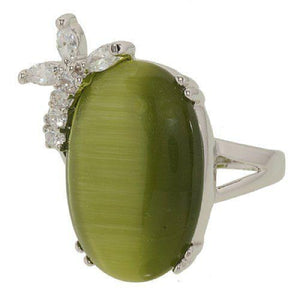 Green Cat Eye Oval Cocktail Ring With Side Spray Cubic Zirconia