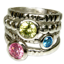 Load image into Gallery viewer, Set of Four Stackable Fashion Rings With Pastel Cubic Zirconia