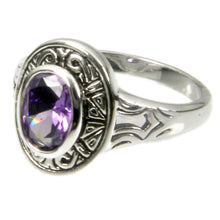 Load image into Gallery viewer, Aztec Silvertone Fashion Ring W/ Amethyst Cubic Zirconia