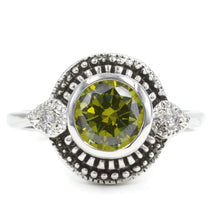 Load image into Gallery viewer, Antique Silvertone Fashion Ring With Round Bezel Set Olive Cubic Zirconia