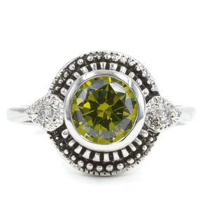 Antique Silvertone Fashion Ring With Round Bezel Set Olive Cubic Zirconia