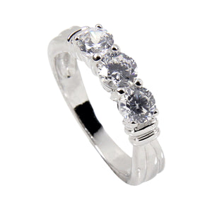 Gorgeous Sterling Silver Three Cubic Zirconia Ring
