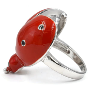 Large Three Dimensional Lady Bug Fashion Ring in Silvertone Finish with Red Epoxy