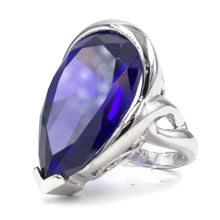 Load image into Gallery viewer, Large Teardrop Silvertone Cocktail Ring with Tanzanite CZ Center Stone