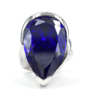 Large Teardrop Silvertone Cocktail Ring with Tanzanite CZ Center Stone