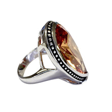 Load image into Gallery viewer, Large Antique Trim Champagne CZ Teardrop Silvertone Ring