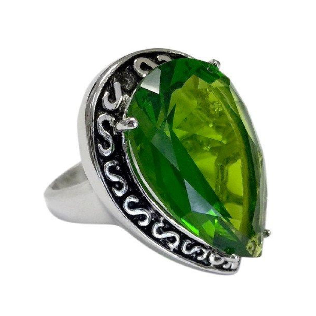 Large Teardrop Silvertone Cocktail Ring with Green CZ Center Stone