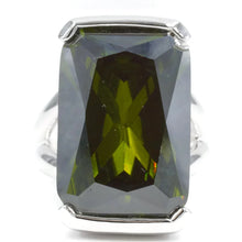Load image into Gallery viewer, Oversized Emerald Cut Olivine CZ Silvertone Fashion Ring