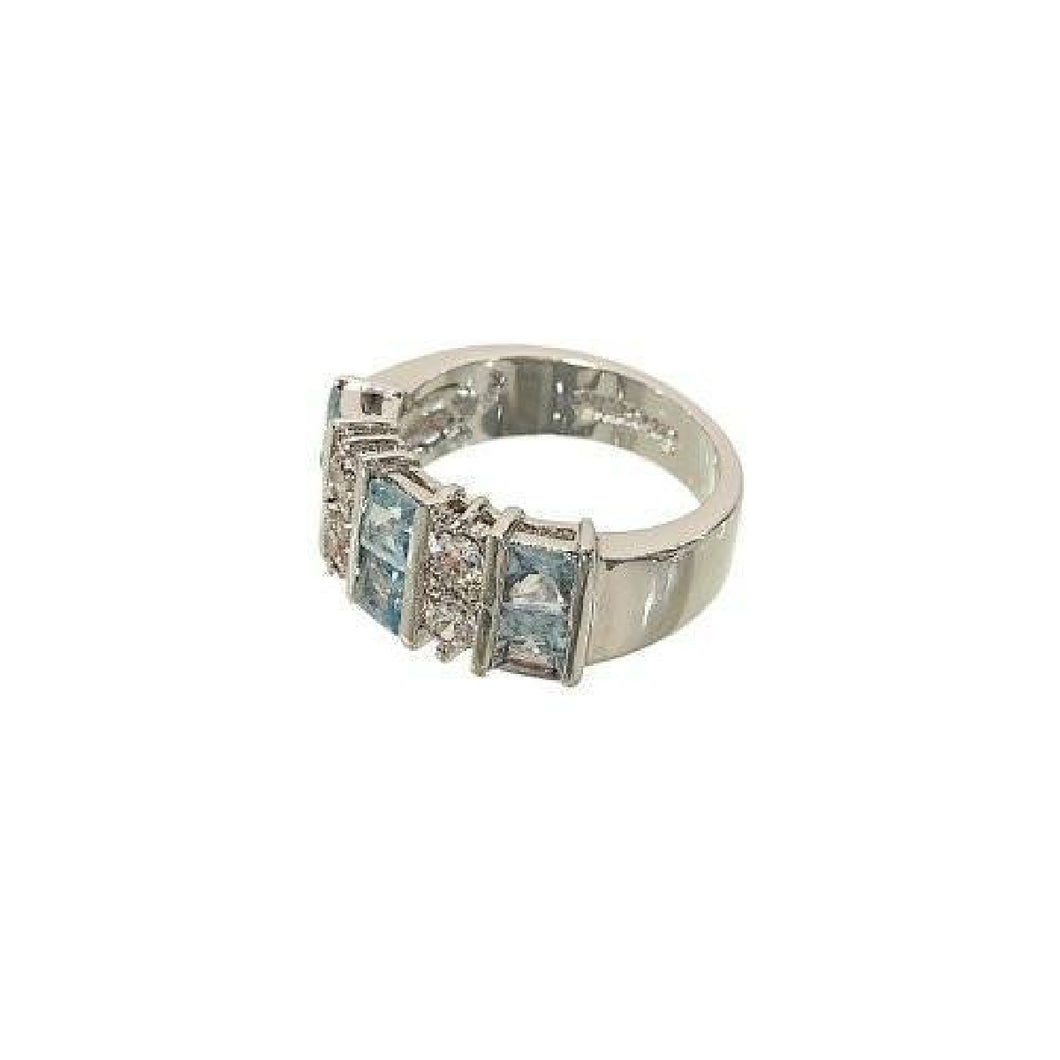 Ten Stone Princess Cut Ring With Aqua Spinel & Cubic Zirconia