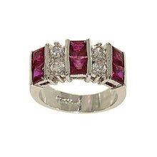 Load image into Gallery viewer, Ten Stone Fashion Ring Done in Princess Cut Synthetic Ruby