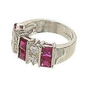 Ten Stone Fashion Ring Done in Princess Cut Synthetic Ruby
