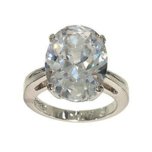 Load image into Gallery viewer, Big Oval Single Clear Stone Four Prong Setting Ring