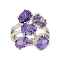Load image into Gallery viewer, Floating Ovals Cluster Fashion Ring in Deep Purple Cubic Zirconia