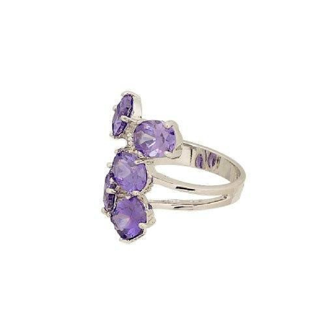Floating Ovals Cluster Fashion Ring in Deep Purple Cubic Zirconia
