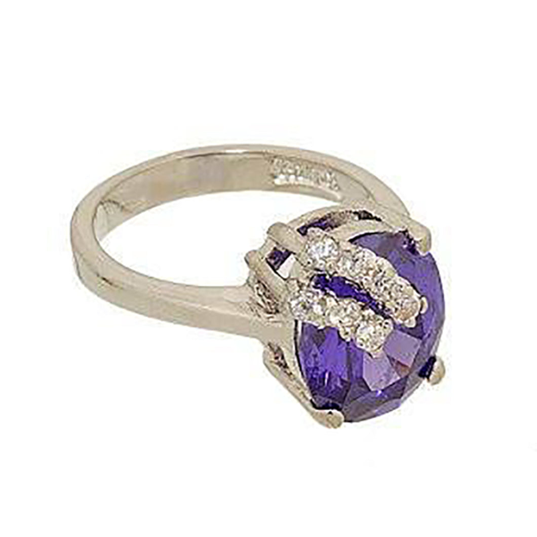 Oval Tanzanite CZ Solitaire Ring with Crossover Bars of Clear CZ