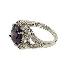 Load image into Gallery viewer, Estate Amethyst Cubic Zirconia Silvertone Fashion Ring