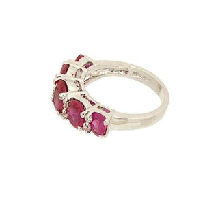 Five Stone Graduated Ring in Oval Simulated Ruby and Cubic Zirconia