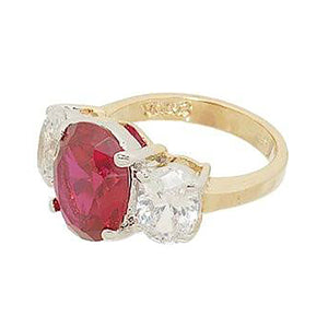 Three Stone Ring in Oval Cut Synthetic Ruby and Cubic Zirconia