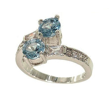 Load image into Gallery viewer, Silvertone Fashion Ring in Pale Blue Aqua Spinel and Cubic Zirconia