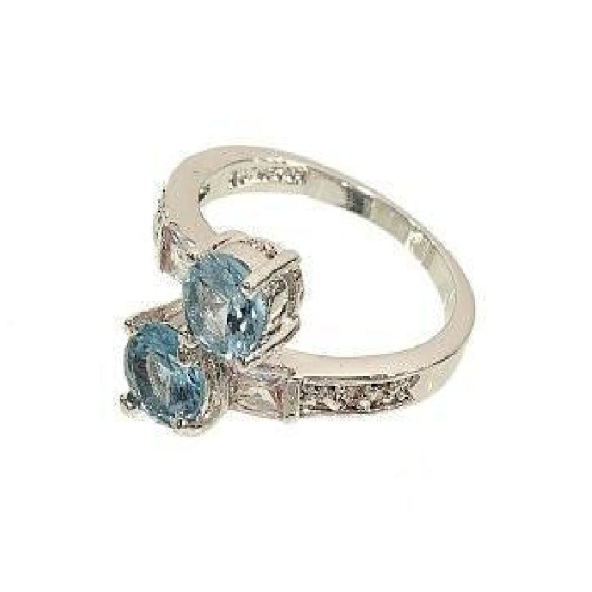Silvertone Fashion Ring in Pale Blue Aqua Spinel and Cubic Zirconia