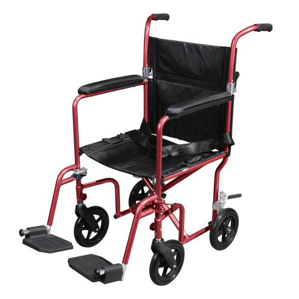 Deluxe Fly-Weight Aluminum Transport Chair with Removable Casters - Scooters and more