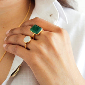 Green Onyx and Moonstone 14k Gold Vermeil Ring