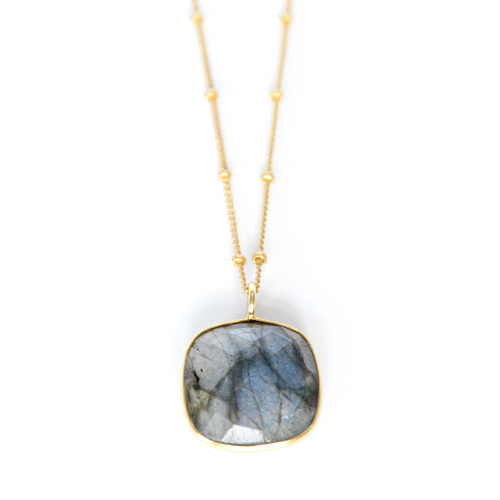 Labradorite Ball Chain Necklace in 14k Gold Vermeil