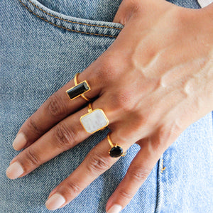 Black Onyx and Moonstone Rings