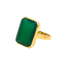 Load image into Gallery viewer, Green Onyx 14k Gold Vermeil Ring
