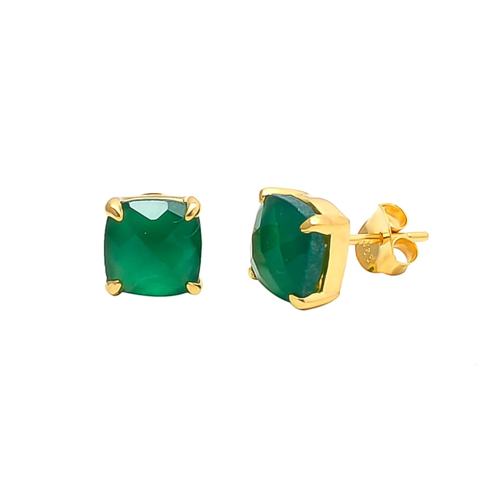 Green Onyx Square Studs